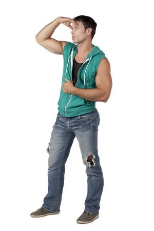 hooded vest: Searching man wearing sleeveless hooded vest and denim