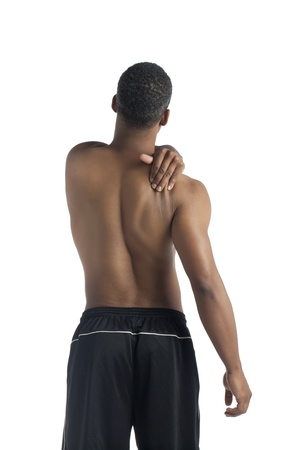 Image of man suffering shoulder pain against white background Stock Photo - 17520088