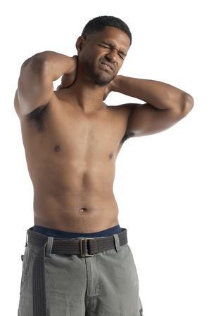 blackman: Black man suffering from stiff neck Stock Photo