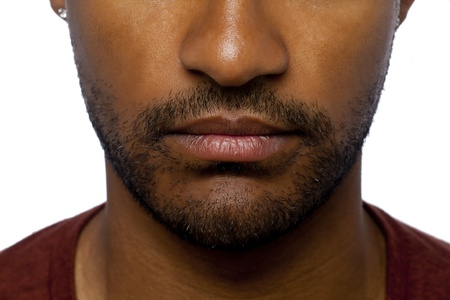 Close-up image of nose and mouth of a man isolated over the white background Stock Photo - 17521008