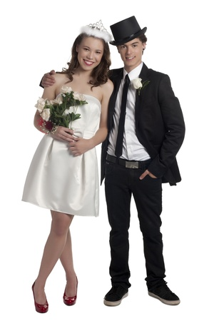 prom queen: Portrait of prom night couple against white background Stock Photo