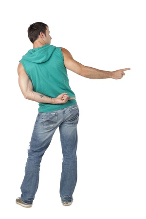 hooded vest: Rear view of male dancer pointing to the side of a white background