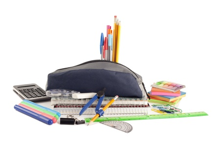 Close up image of school materials against white background photo