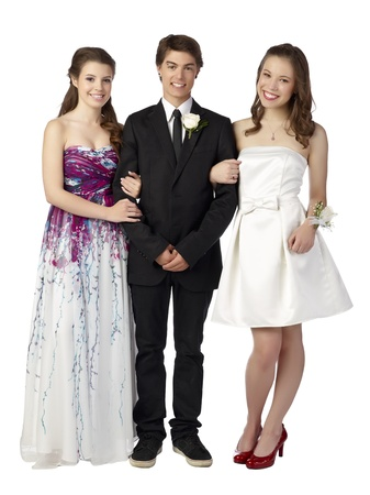 prom queen: Portrait of a smiling teenager on prom against the white surface