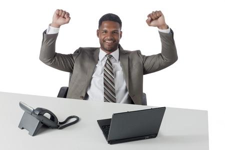 aieron: Portrait of successful black businessman against white background