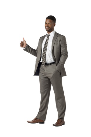 Full length image of an African american businessman showing a thumbs up photo
