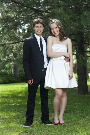 Portrait of young romantic couple photo