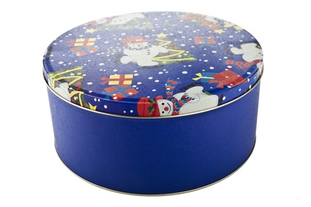 Close-up image of a Christmas cookie tin against the white background