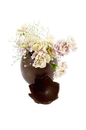 tojáshéj: Közeli kép csokoládé tojáshéj váza, szegfű virág belsejében elszigetelt fehér háttér
