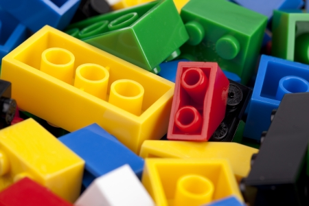 Macro image of a colorful lego background Imagens
