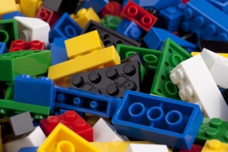 Close up image of colorful logo blocks