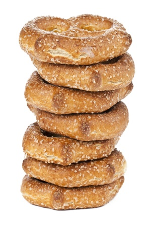 Close-up image of delicious pretzel isolated on a white background
