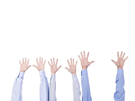 high five: Close up image of diverse hands gesturing high five against white background