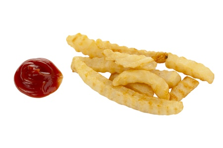 tomato catsup: Close-up image of a potato fries with ketchup on the side of a white background