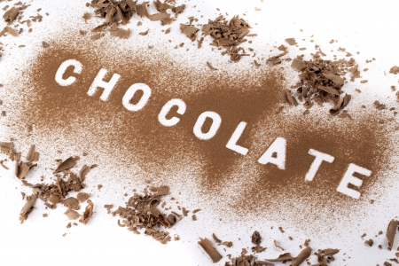 An image of a powder chocolate to form a word isolated on