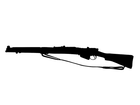vintage riffle: Silhouette of a rifle against white background