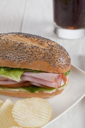 ham sandwich: Close up immagine di gustoso panino al prosciutto con patate fritte in un piatto bianco Archivio Fotografico