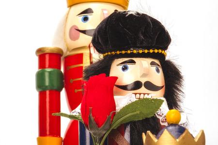Traditional Figurine Christmas Nutcracker isolated on white Banco de Imagens