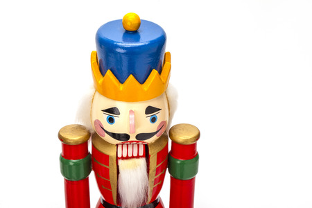Traditional Figurine Christmas Nutcracker isolated on white Foto de archivo