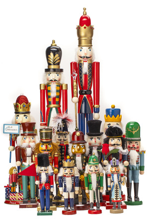 nutcracker: Traditional Figurine Christmas Nutcracker isolated on white Stock Photo