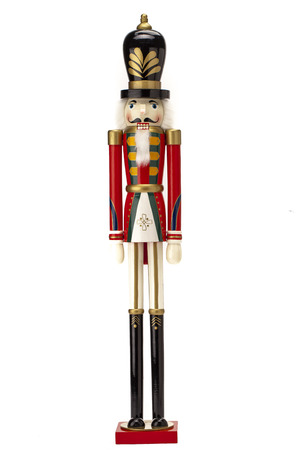 Traditional Figurine Christmas Nutcracker isolated on white Banque d'images