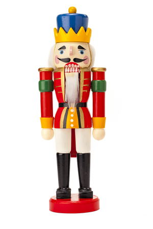 Traditional Figurine Christmas Nutcracker isolated on white Zdjęcie Seryjne