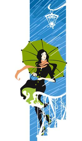 soir�e: fille avec un parapluie sous la pluie.