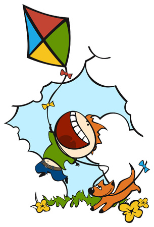 a boy and a dog playing with kite Vector