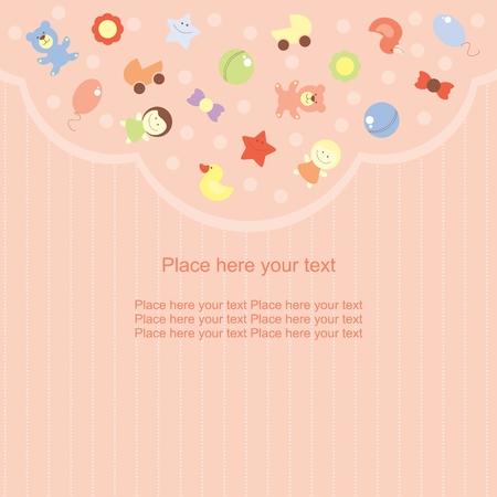 toy ducks: tarjeta de felicitaci�n con las im�genes de los juguetes para la ni�a y sus padres Vectores