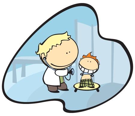 Ilustración de un médico y un niño