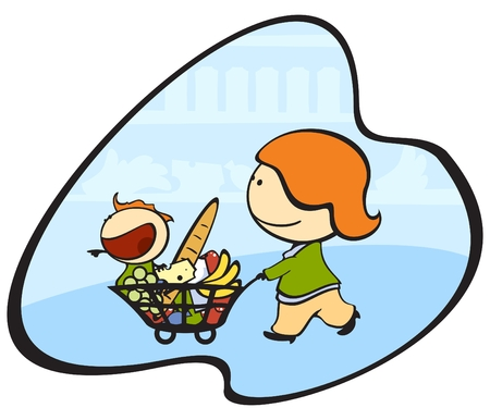 illustration of the mother and the child in a supermarket