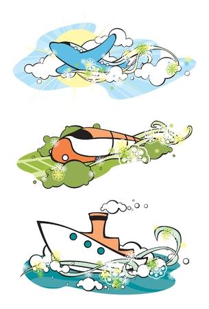 flying boat: conjunto de im�genes estilizadas de veh�culos