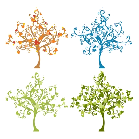 stylized images of a tree during different seasons Vector