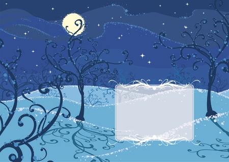 illustration of a winter night with a place for the text Stock Vector - 5872196