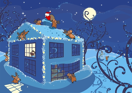 blue roof: illustration of christmas eve, the boy has noticed santa-clauss deers
