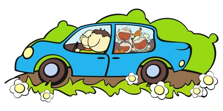 illustration of a happy family traveling by car Vector