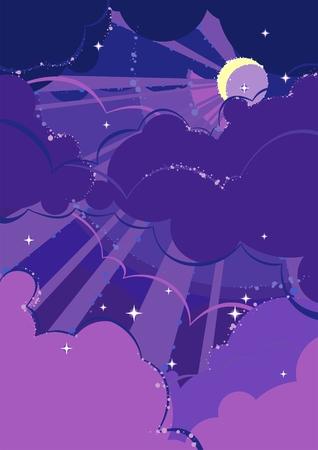 illustration of a beautiful night sky full of moonlight Vector