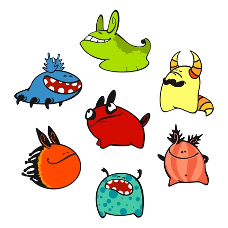 alien clipart: set of images of amusing multi-coloured unknown animals #3 Illustration