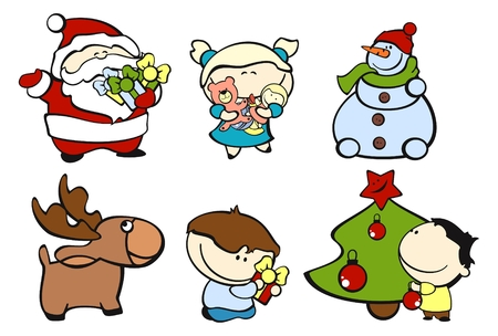 set of images of funny kids on a white background #3, christmas theme Vector