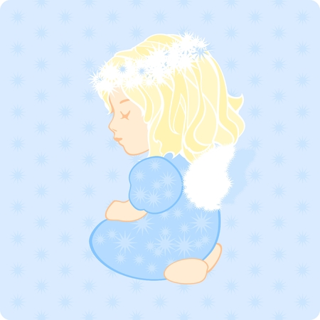 illustration of a cute little baby girl angel Vector