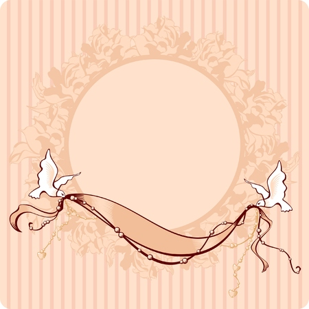 romantic vintage style card with doves, with a place for the photo andor text Vector