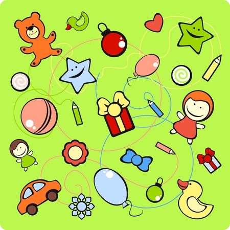 set of images of toys and different decorative elements Vector