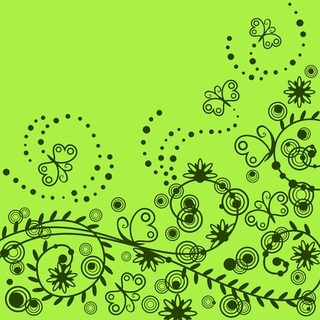 beautiful floral pattern with butterflies Stock Vector - 5997523