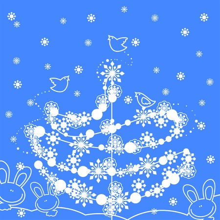 cute winter background with christmas tree, snowflakes, birds and rabbits Stock Vector - 5997525