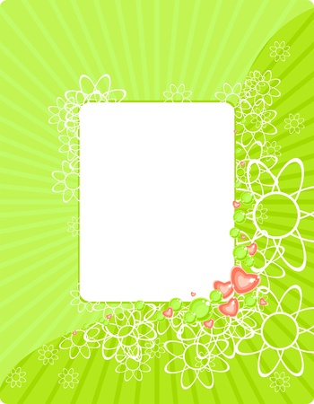 green floral frame with beads and hearts Stock Vector - 5997527