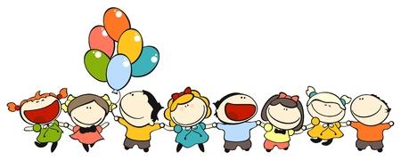 set afbeeldingen van grappig kinderen op een witte achtergrond, thema vriendschap Stockfoto - 5997521