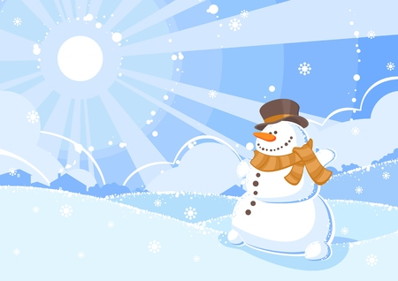 illustration of a snowman in a winter shiny day Stock Vector - 5997526