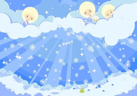 angel white: illustration of three cute angels making the snow over a town