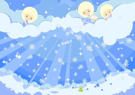 estrella caricatura: Ilustraci�n de tres �ngeles cute haciendo la nieve sobre una ciudad  Vectores