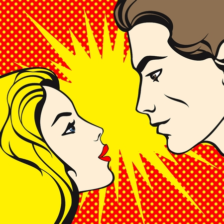 comic art: illustration of a comics style couple, looking at each other